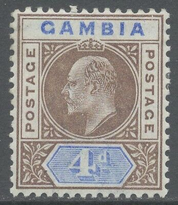 Gambia 1902 4d Edward VII Slotted Frame Variety (SG#50var) Rare Mint