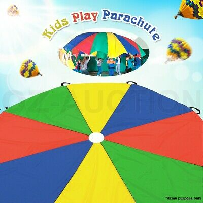 NEW Multi-Coloured 3.5 M Kids Play Parachute 8 Handles Outdoor Indoor Kid Toy