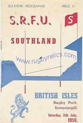 BRITISH LIONS 1959 v SOUTHLAND RUGBY PROGRAMME