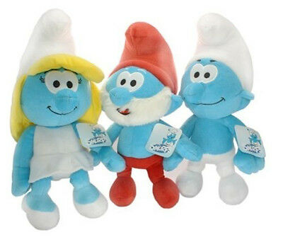 "3X The Smurfs Clumsy Papa Smurfette Smurf Plush Toy Soft Doll Teddy 13"" US Ship"