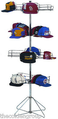 New 16 Pocket Chrome Floor Display Cap Rack 4 Rotating Tiers  Holds 96 Hats