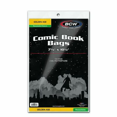 (100) BCW Golden Age Size Resealable Comic Book Bags 7 5/8 x 10 1/2