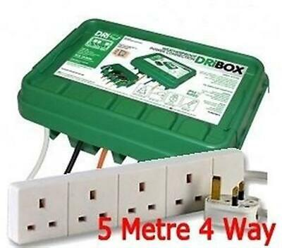 Outdoors electricial enclosure box c/w 4 Way 5 Metre Extension Lights power IP55