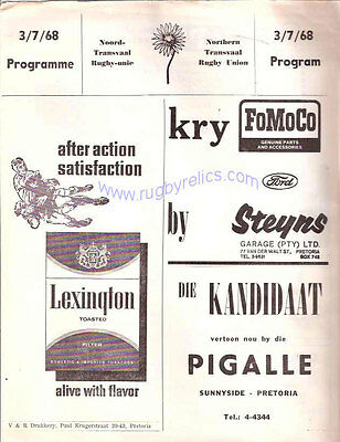 BRITISH LIONS 1968 v NORTHERN TRANSVAAL RUGBY PROGRAMME