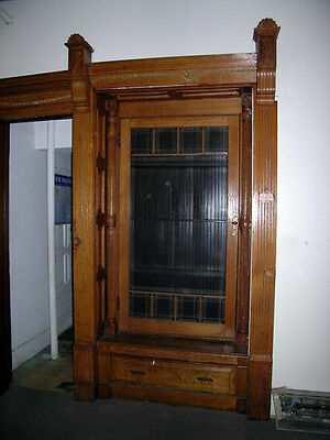 c1890 victorian quartersawn oak builtin w beveled door