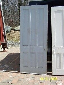 c1860 pine 6 raised panel door w/casing&jamb 89 x 36""