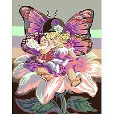 Little Butterfly Girl Tapestry Needlepoint Canvas Royal Paris
