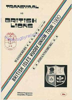 BRITISH LIONS 1980 v TRANSVAAL RUGBY PROGRAMME