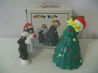 Warner Brothers 1993 Sylvester And Tweety Xmas Salt & Pepper Mib #d1184