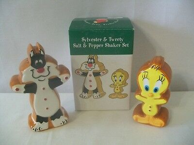 1997 Gingerbread Cookie Sylvester & Tweety Christmas Salt & Pepper Mib #d1186