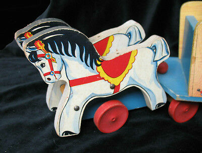 Fun 1942 Fisher Price #171The Toy Wagon - Two Matched Ponies / Horses Pull Wagon