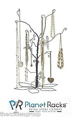 """New 24"""" Tall Wire Jewelry Display Tree Bendable Wire Branches Leaf Pattern Base"""