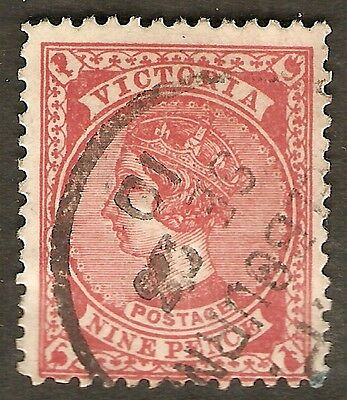 1901-1910  VIC Victoria Australia QV 9d Red-Brown / Pink Used