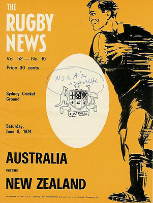 AUSTRALIA v NEW ZEALAND 1974 - 3rd Test RUGBY PROGRAMME SYDNEY 8th June