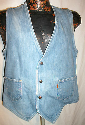 Worn Used Vintage Girls Light Blue Denim 2 pk Snap Button Vest sz M