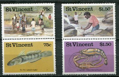 Saint Vincent 1986 Fish And Fishing Stamps - Mint Complete Set Of 4!