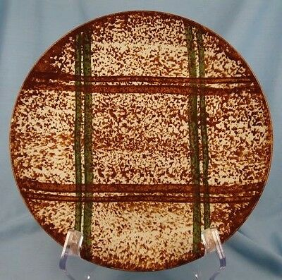 Vintage RUSTIC PLAID DINNER PLATE Colorful BLUE RIDGE SOUTHERN POTTERY As Is (O)