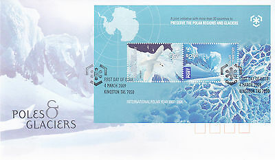 2009 AAT Poles & Glaciers  FDC - (Mini Sheet) Kingston Tas 7050 PMK