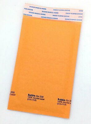 """500 #000 (4""""x8"""") Kraft Bubble Lined Mailer Envelopes Self Seal Free Shipping"""