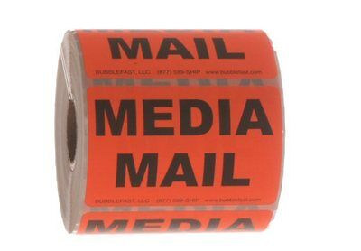 """Media Mail  Roll of 500 3"""" x 2"""" Red Sticker Labels Free Shipping"""