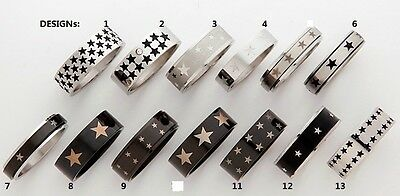316L Surgical Stainless Steel Star Design Band Ring (Pick Design & Size 6 - 13 )