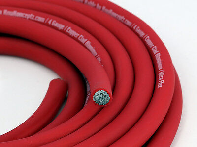 KnuKonceptz KCA RED Ultra Flex TRUE AWG 4 Gauge Battery Power Wire Cable 20Ft