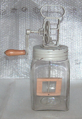ANTIQUE VINTAGE D.R.G.M METAL, GLASS AND WOOD MIXER, BUTTER CHURN - 2 L, GERMANY