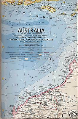 """Nice Big 19""""x 23"""" Australia MAP from National Geographic Society 1963 unused"""