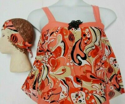 NWT DANCE CONTEMPORARY 60's Print Jazz Top Adult/Child Sizes