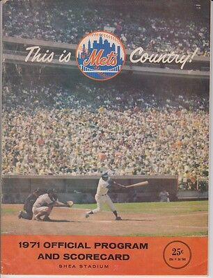 1971 New York Mets Official Program + Scorecard VS Giants Willie Mays Scored ecf73e5e6