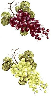 Bunch of Green or Purple Grapes Select Size & Color Waterslide Ceramic Decals Tx