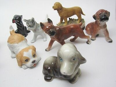 Dog Vintage Figurine 7pc Lot Assorted Breeds 1950's Japan Homco Lab Boxer Exc