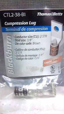 Thomas & Betts Copper Compression Lug Ctl2-38-B1 33 3/8 Brown New Ctl238B1