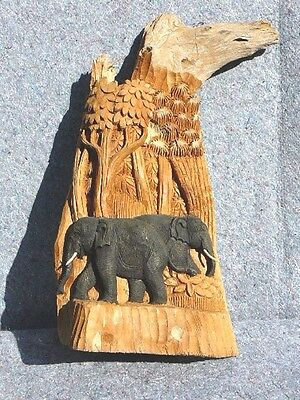 (T-69) two 2 Elephant forest carving carved display Teak WOOD I love elephants