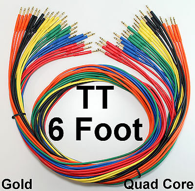 """24 Pack - TT Bantam 6 Foot Gold Quad Patch Cables 72"""" New Cords Snake Leads"""