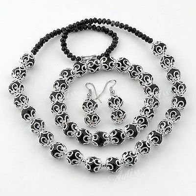 Black Faceted Crystal Glass Round Flower Beads Necklace Bracelet Earring Set