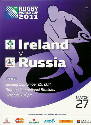 IRELAND v RUSSIA RUGBY WORLD CUP 2011 PROGRAMME MATCH no 27