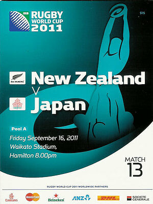NEW ZEALAND v JAPAN RUGBY WORLD CUP 2011 PROGRAMME MATCH no 13
