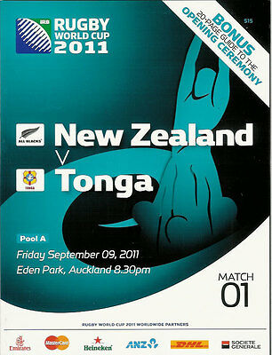 NEW ZEALAND v TONGA RUGBY WORLD CUP 2011 PROGRAMME MATCH no 01