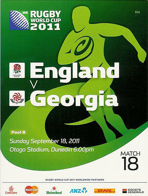ENGLAND v GEORGIA RUGBY WORLD CUP 2011 PROGRAMME MATCH no 18