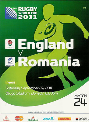 ENGLAND v ROMANIA RUGBY WORLD CUP 2011 PROGRAMME MATCH no 24