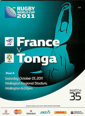 FRANCE v TONGA RUGBY WORLD CUP 2011 PROGRAMME MATCH no 35