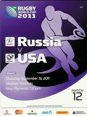 RUSSIA v USA RUGBY WORLD CUP 2011 PROGRAMME MATCH no 12