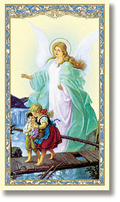 """Guardian Angel with Children on Bridge Laminated Holy Card """"New"""""""