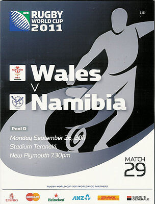 WALES v NAMIBIA RUGBY WORLD CUP 2011 PROGRAMME MATCH no 29