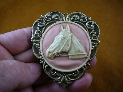 (CL54-9) HORSE RACE Stallion head mare pink CAMEO Brooch Pin Pendant