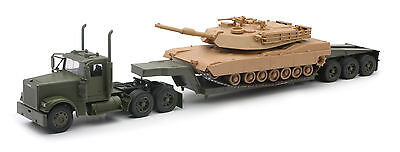 Freightliner Lowboy Flatbed W/ M1A Military Tank Truck Army 1:32 Diecast Hauler