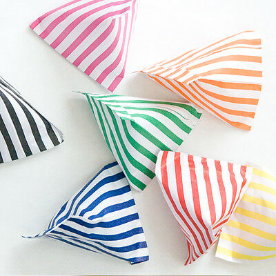 CANDY STRIPE PAPER SWEET GIFT PARTY BAGS 5x7 INCHES ~ CAKE BAG ~ ALL COLOURS