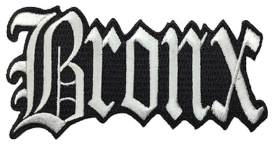 "Bronx New York City Iron On Embroidered Patch NY 4.5"" x 2.5"" White"