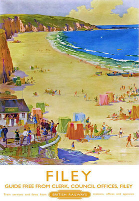 TU96 Vintage Filey North Yorkshire British Railways Travel Poster A2 A3